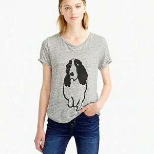 J Crew Hugo Dog Linen T Shirt Size M Gray